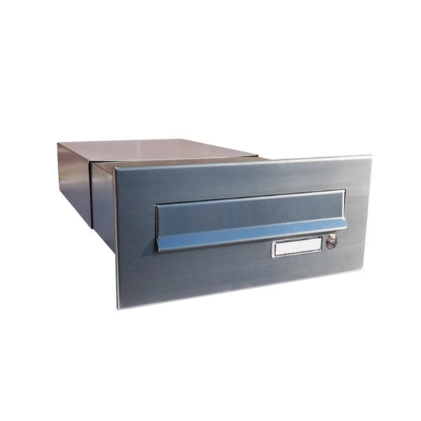 Nerezová poštovní schránka DLS-B-042-Z k zazdění do sloupku, nastavitelná hloubka schránky