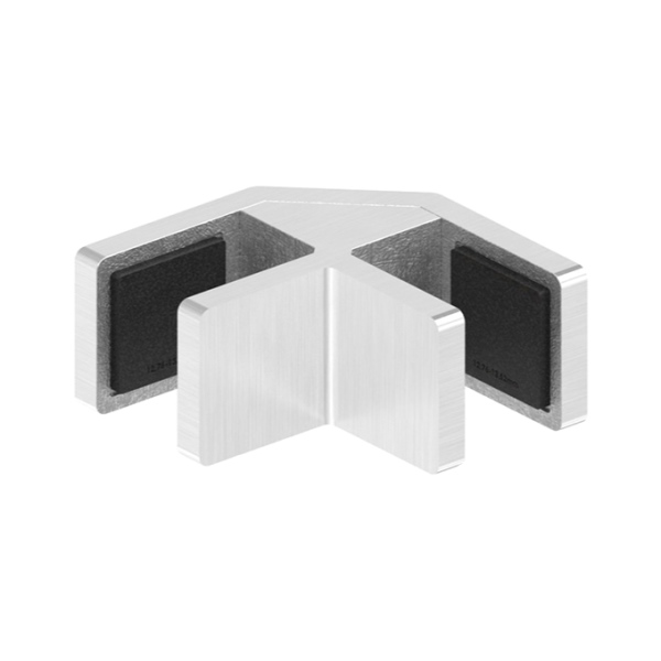 80570-240-EH-12 - nerezový držák skla - rohová spojka 90°, AISI 304, pro tl. 12,76 - 13,52 mm, pro nerezové zábradlí