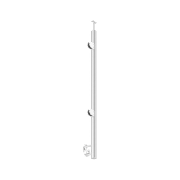 KP-21122 - nerezový kulatý sloupek, rovinový, boční kotvení, levý, pro madlo pr. 42,4 mm, systém sklo, pro nerezové zábradlí