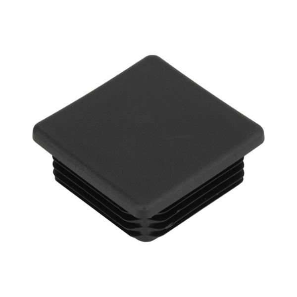 Žebrovaná čtvercová plastová zátka - plochá 80x80 mm černá erodovaná, na hranoly, jekly, sloupky a t