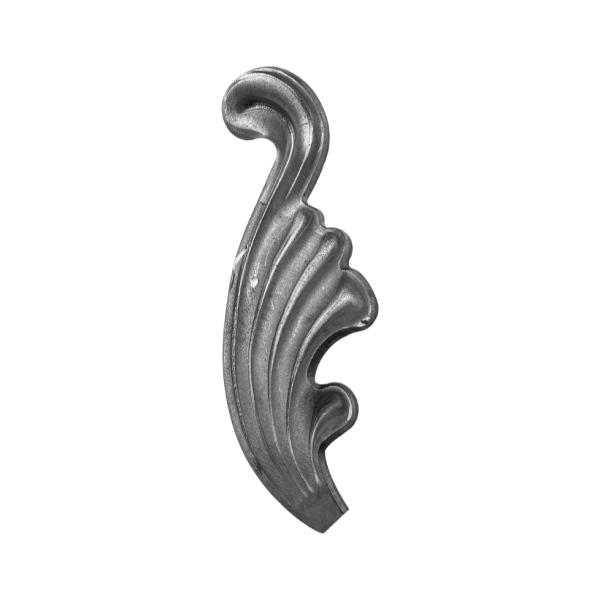 Ozdobný list pro kovaný plot, bránu, zábradlí a mříže 51.063, 90x40 x 2 mm, levý
