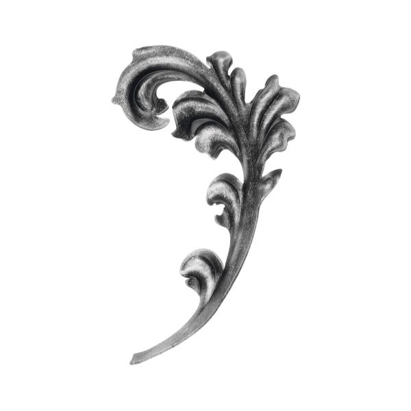 Ozdobný list pro kovaný plot, bránu, zábradlí a mříže 51.125, 230x135 x 2 mm, levý