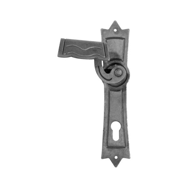 63.193.90 - Ozdobný štítek s klikou pro dveře a vrata, rozteč 90 mm, levý