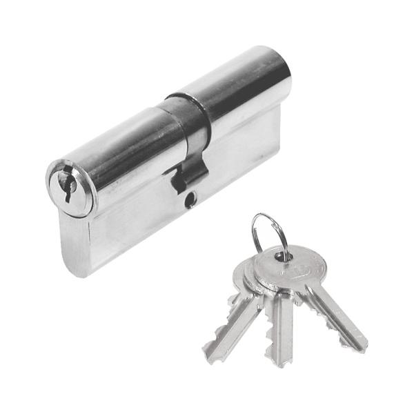 63.301.12 - Stavební cylindrická vložka 35/35 mm, 3x klíč, poniklováno