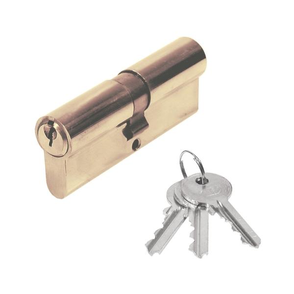 Stavební cylindrická vložka 30/30 mm mosazná, 3x klíč