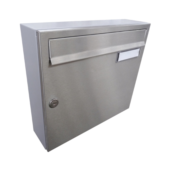 Poštovní schránka DLS-A-01A, nerezová dvířka se jmenovkou, šedé tělo schránky