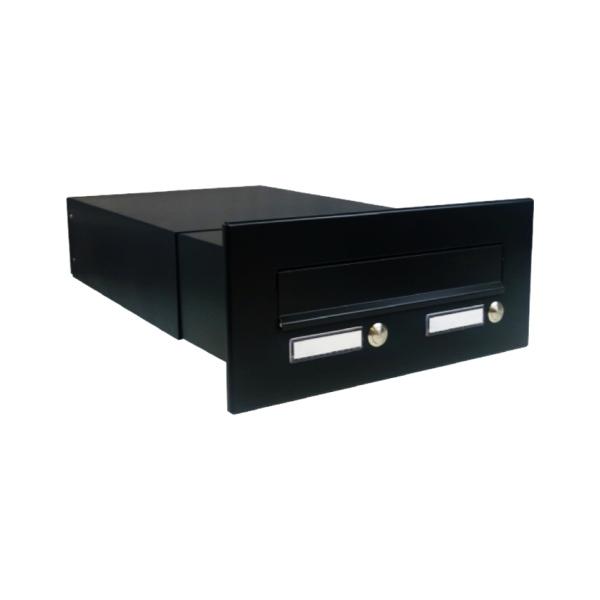 DOLS B-042-2Z RAL9005 - poštovní schránka k zazdění, s 2x jmenovkou a 2x zvonkovým tlačítkem, černá