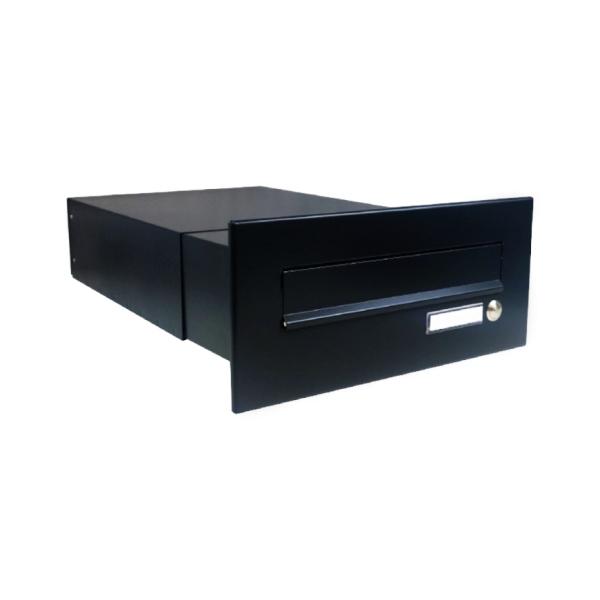 DOLS B-042-Z RAL9005 - poštovní schránka k zazdění, se jmenovkou a zvonkovým tlačítkem, černá