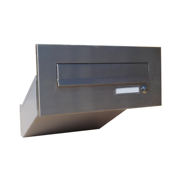 Nerezová poštovní schránka DLS-D-042-Z šikmá k zazdění do sloupku, čelní deska se zvonkem