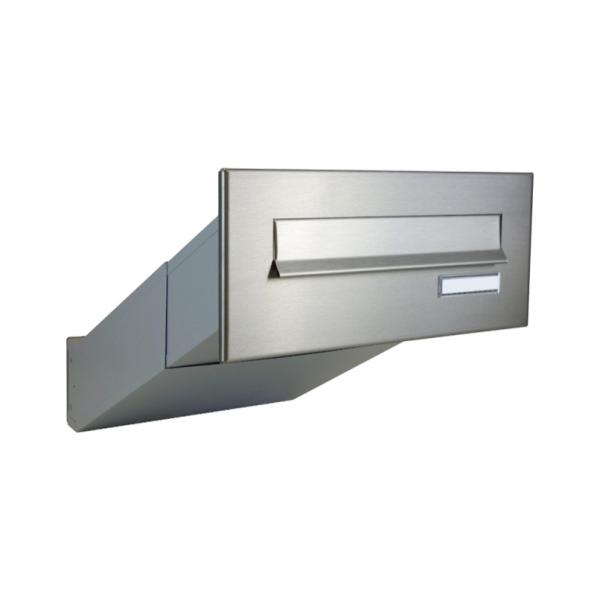 Nerezová poštovní schránka DLS-D-042 šikmá k zazdění do sloupku, čelní deska se jmenovkou