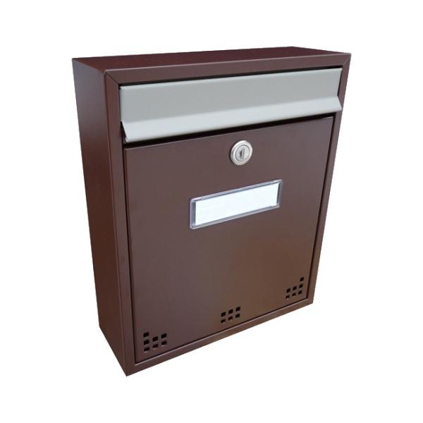 Poštovní schránka DLS-H-011_H s hliníkovou sklapkou, interiérové schránky, hnědá RAL 8017