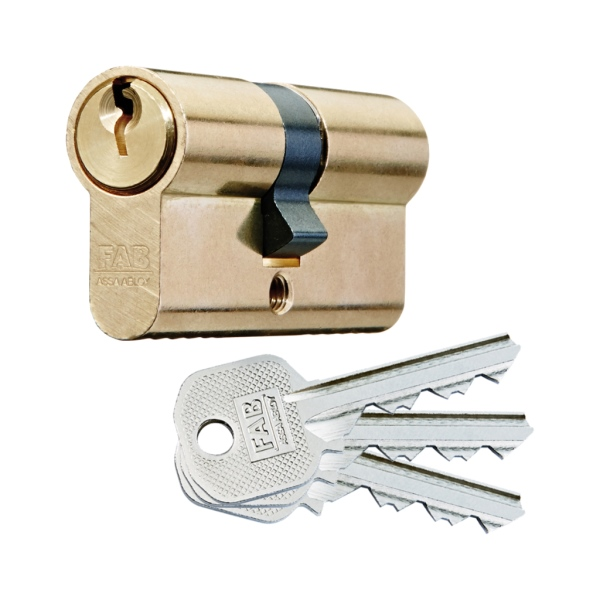 FAB 50D/40+40 Stavební cylindrická vložka mosazná, 40/40 mm, 3x klíč, 1.bezpečnostní třída