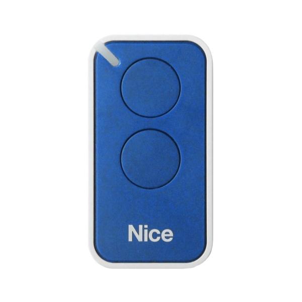 Dálkový ovladač pohonu brány a vrat NICE INTI-2B modrý, plovoucí kód, 2-kanálový 433 MHz