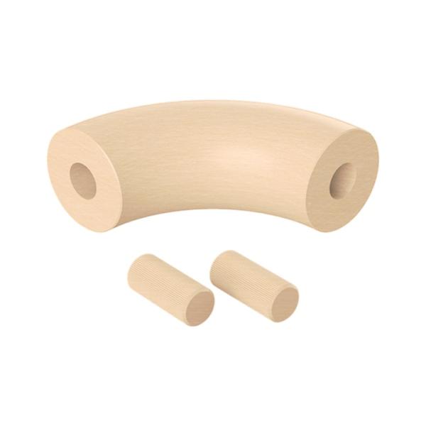 Spojka (koleno, přechod) madla 90° pr.42 mm, výška 100 mm, nelakovaný přírodní buk, pro nerezové zábradlí a schodiště