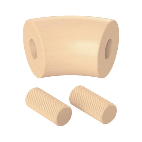 Spojka (koleno, přechod) madla 45° pr.42 mm, výška 65 mm, nelakovaný přírodní buk, pro nerezové zábradlí a schodiště