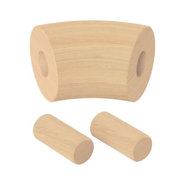 Spojka (koleno, přechod) madla 45° pr.42 mm, výška 65 mm, nelakovaný přírodní dub, pro nerezové zábradlí a schodiště