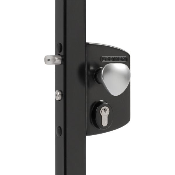 LOCINOX LEKQ 9005 - komplet zámkové krabice pro profil 30 až 50 mm, s funkcí otvírače, Fail Open, pro křídlové branky, černý