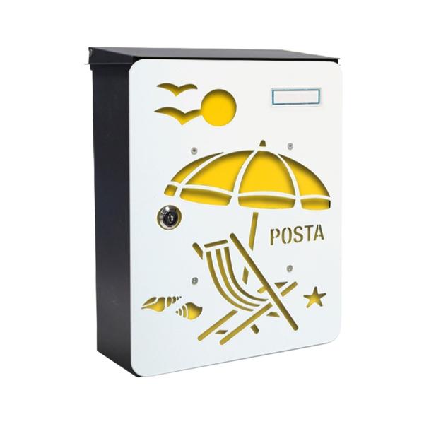 MIA box Brach Umbrella Y - poštovní schránka s výměnným krytem a jmenovkou, pláž