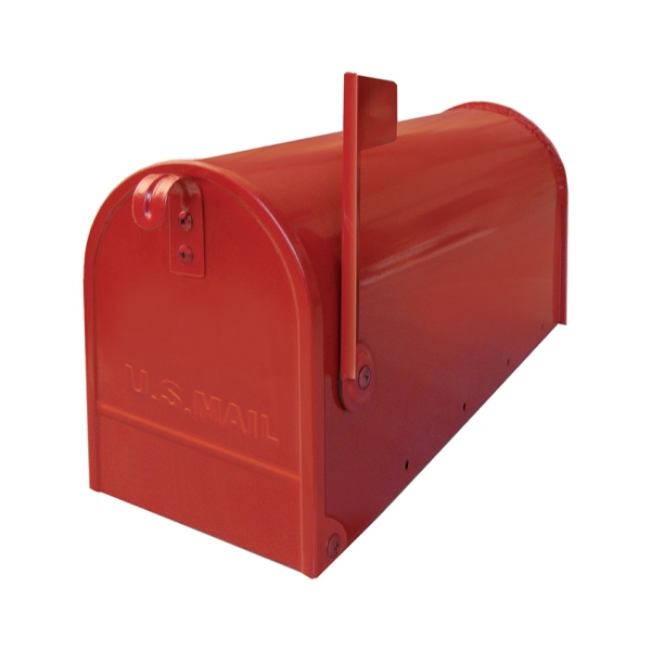 USA1RO - poštovní schránka, americká s vlaječkou a stojanem, červená