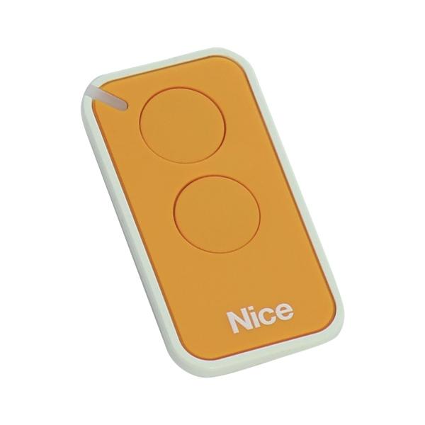 Dálkový ovladač pohonu brány a vrat NICE INTI-2Y žlutý, plovoucí kód, 2-kanálový 433 MHz