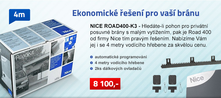 Pohon posuvné brány NICE ROAD-400 set K3 do 400 kg a max. šířky průjezdu 5 m