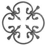 Ozdobný ornament pro kované ploty, brány a mříže 13.003 pr.8x8 mm, 250 x 250 mm