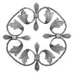 Ozdobný ornament pro kované ploty, brány a mříže 13.008 pr.12x16 mm, 300 x 300 mm