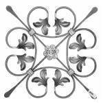 Ozdobný ornament pro kované ploty, brány a mříže 13.009 pr.12x6 mm, 340 x 340 mm