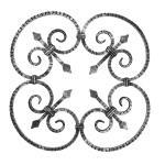 Ozdobný ornament pro kované ploty, brány a mříže 13.025 pr.12x12 mm, 590 x 590 mm